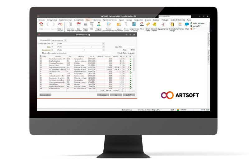 Ativos Amortizacoes Gestao Software ARTSOFT