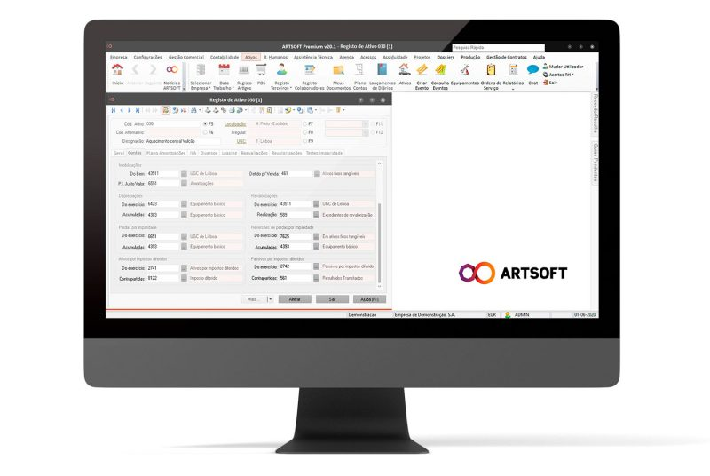 Ativos Contas Gestao Software ARTSOFT