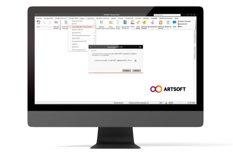 Importar ficheiro SAFT no software