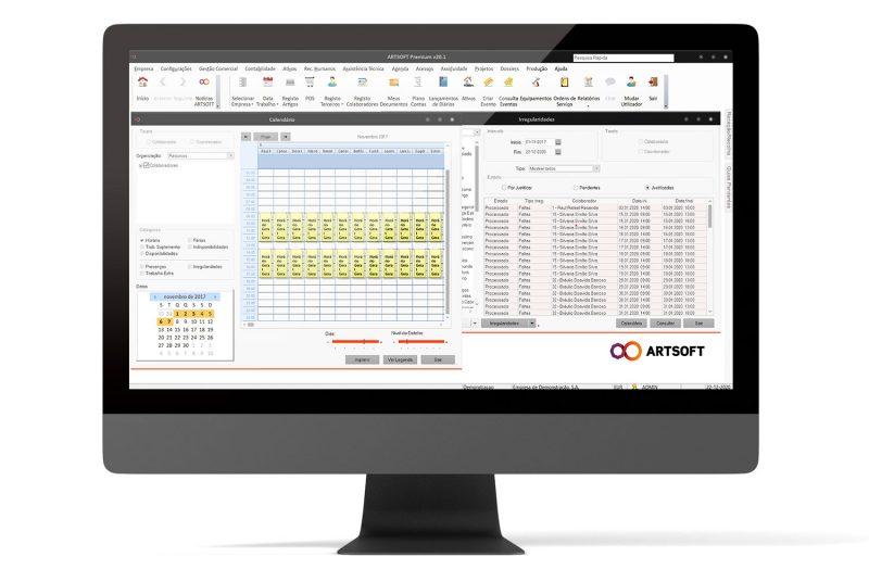 Controlo e Gestão de Assiduidades no ERP ARTSOFT