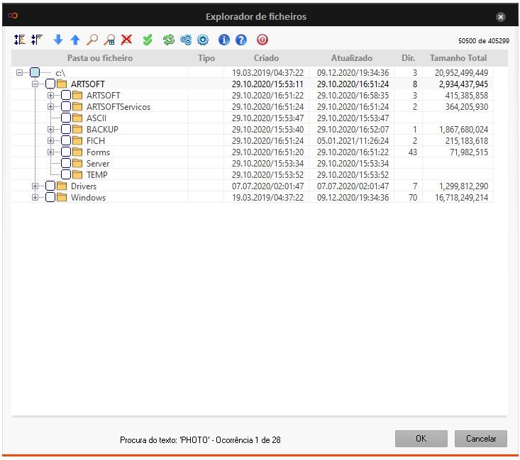Ecrã de pesquisa explorador de Sistema