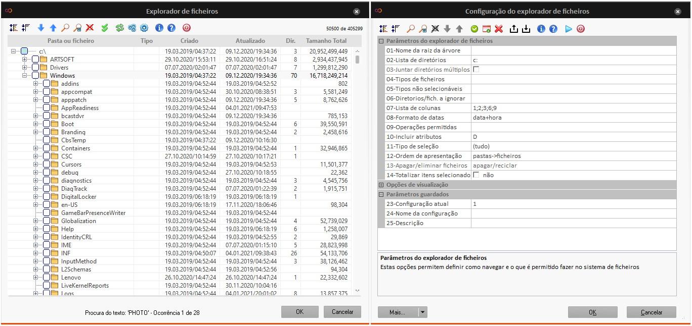 Filtros para facilitar a pesquisa de ficheiros