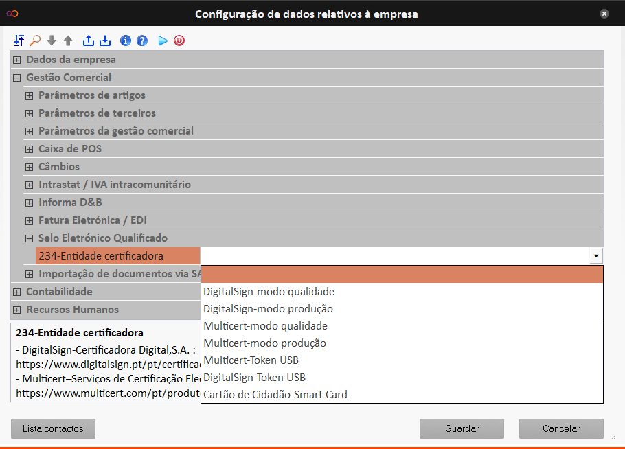 Como configurar as entidades certificadores no ERP ARTSOFT