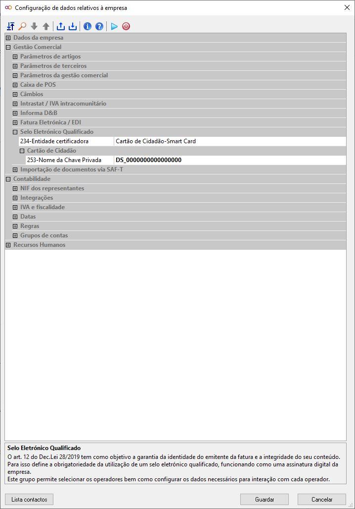 Configuração da empresa - Preenchimento chave privada
